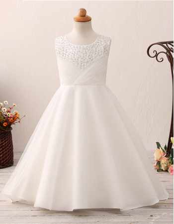 Custom A-Line Sweep Train Satin Flower Girl Dresses for Wedding