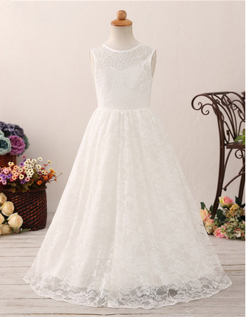 2019 Style A-Line Floor Length Lace Flower Girl Dresses for Wedding