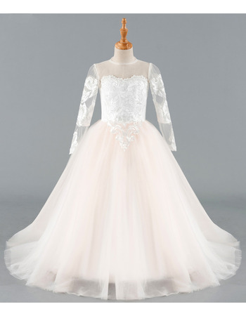 Stunning Ball Gown Floor Length Flower Girl Dresses with Long Sleeves