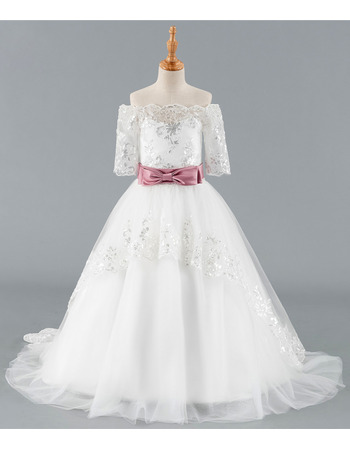 Custom Off-the-shoulder Sweep Train Flower Girl Dress with Belt