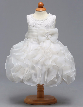 Custom Knee Length Ruffle Skirt Flower Girl Dresses for Wedding