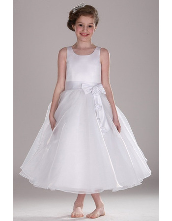 Affordable Ball Gown Tea Length Satin Flower Girl Dress with Bow