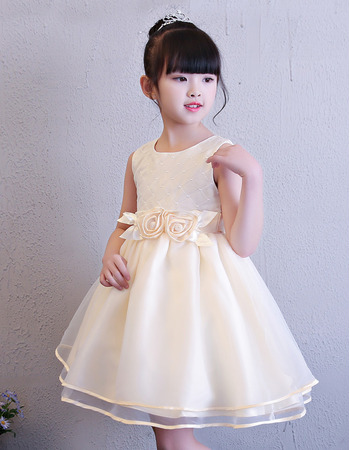 2019 Style Ball Gown Mini/ Short Flower Girl Dresses for Wedding