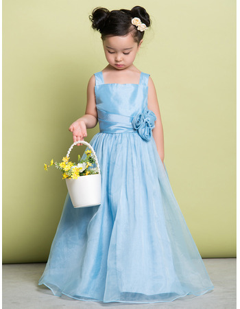 Discount Straps Floor Length Taffeta Flower Girl Dresses for Wedding