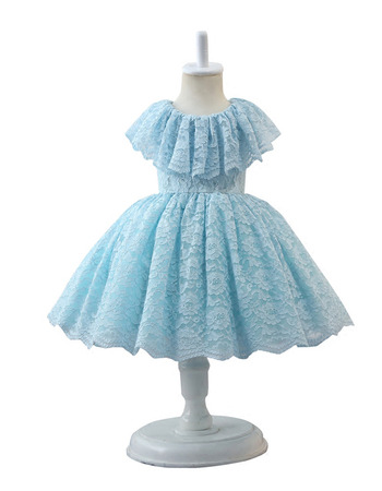 Lovely Ball Gown Knee Length Lace Little Girls Easter Dresses