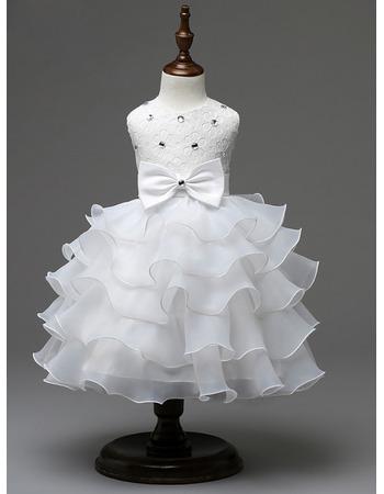 Custom A-Line Tea Length Ruffle Skirt Organza Flower Girl Dresses