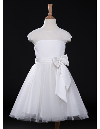 Custom A-Line Knee Length Organza Flower Girl Dresses for Wedding