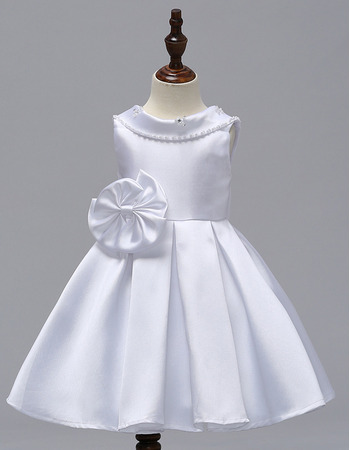 Discount Lapel Mini/ Short Satin Flower Girl Dresses for Wedding