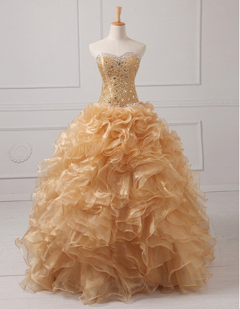 Affordable Ball Gown Sweetheart Floor Length Prom/ Quinceanera Dresses