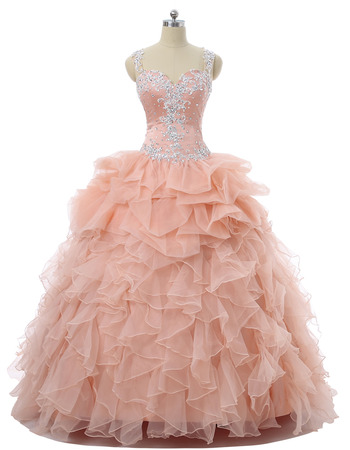 Custom Ball Gown Sweetheart Floor Length Prom/ Quinceanera Dresses