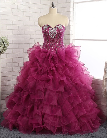 Inexpensive Ball Gown Sweetheart Floor Length Prom/ Quinceanera Dress