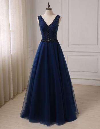 Affordable A-Line V-Neck Floor Length Prom/ Party/ Formal Dresses