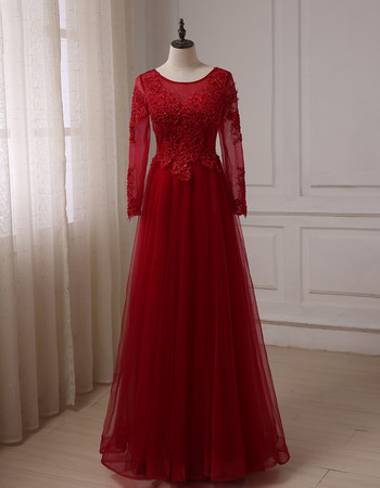 Elegant Floor Length Prom/ Party/ Formal Dresses with Long Sleeves