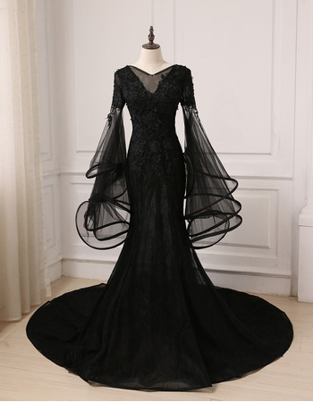 2019 Mermaid Court Train Black Prom Dresses with Trumpet Sleeves
