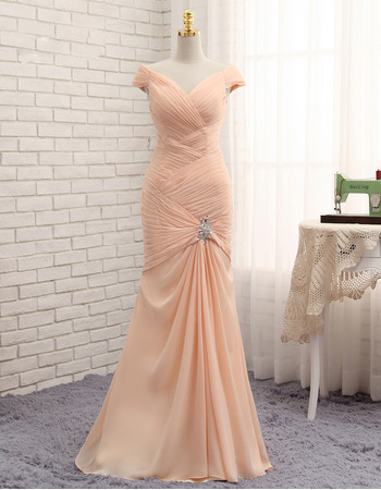 Custom Mermaid V-Neck Floor Length Chiffon Pleated Prom Dresses