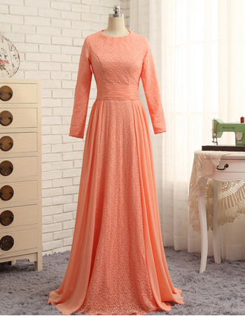 Custom Floor Length Chiffon Prom/ Formal Dresses with Long Sleeves