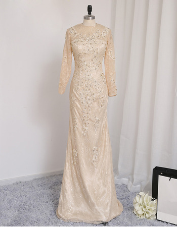 Custom Sheath Floor Length Lace Prom/ Formal Dresses with Long Sleeves