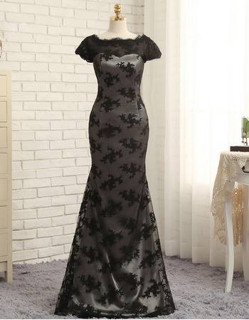 Affordable Mermaid Floor Length Lace Black Prom/ Formal Dresses