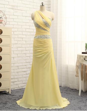 Elegant One Shoulder Floor Length Chiffon Prom/ Formal Dresses