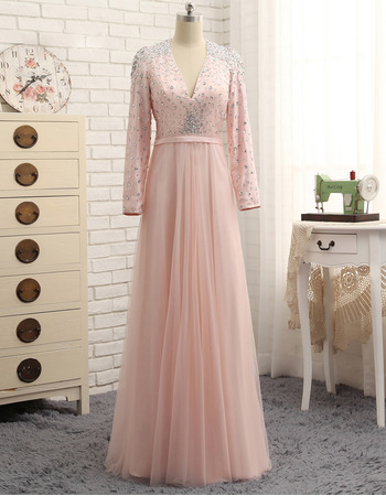 2019 New V-Neck Floor Length Prom/ Formal Dresses with Long Sleeves