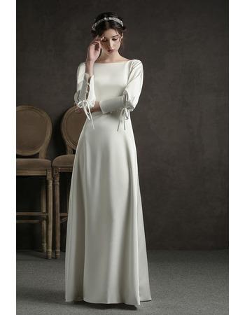 Elegant Satin Floor Length Reception Wedding Dress with Long Sleeves