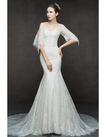 Sexy Mermaid Floor Length Lace Wedding Dresses with Half Sleeves
