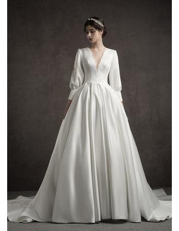 Custom A-Line V-Neck Long Satin Wedding Dresses with Long Sleeves