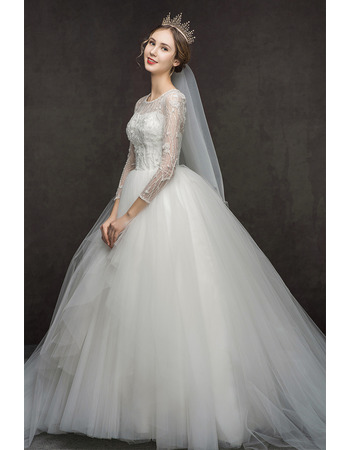 2019 New Style Floor Length Lace Wedding Dresses with Long Sleeves