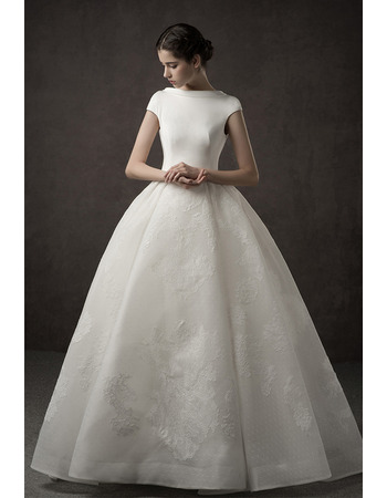 2019 New Style Ball Gown Cap Sleeves Floor Length Satin Wedding Dress