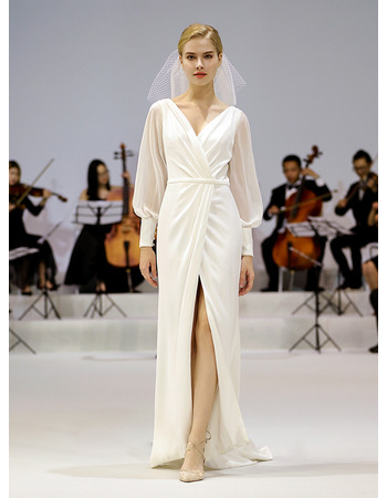 Discount V-Neck Floor Length Chiffon Wedding Dress with Long Sleeves
