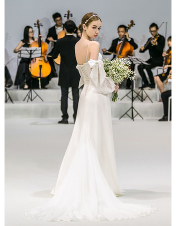 Discount Spaghetti Straps Long Chiffon Wedding Dress with Long Sleeves