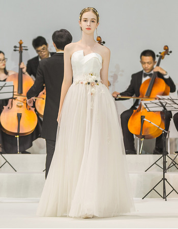 Vintage Strapless Floor Length Satin Organza Wedding Dresses