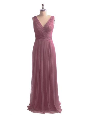 Custom V-Neck Floor Length Organza Evening/ Prom/ Formal Dresses
