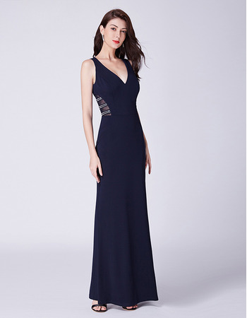 Discount Sheath V-Neck Floor Length Satin Evening/ Prom/ Formal Dress