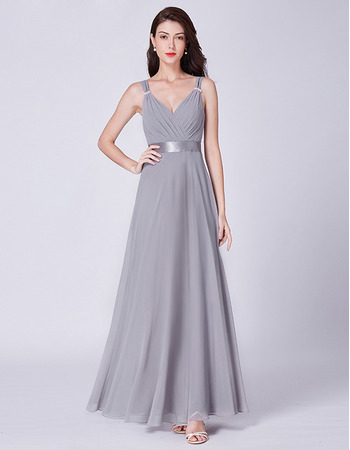 Elegant V-Neck Floor Length Chiffon Evening/ Prom/ Formal Dresses