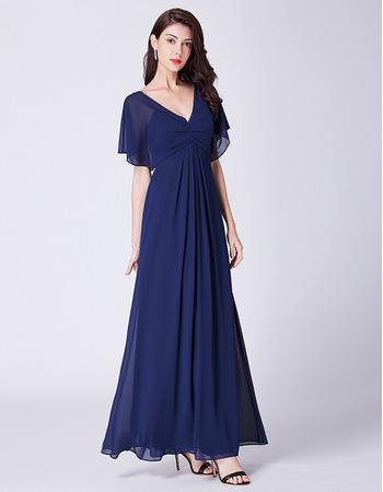2019 New V-Neck Cap Sleeves Floor Length Chiffon Evening Dresses