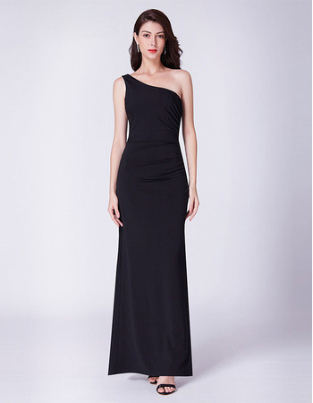 Custom One Shoulder Floor Length Black Evening/ Prom/ Formal Dresses