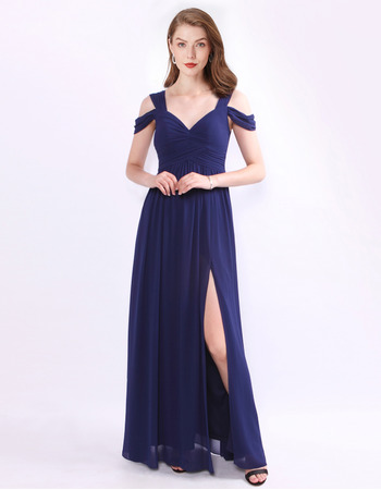Sexy Floor Length Chiffon Evening/ Prom/ Formal Dresses with Straps