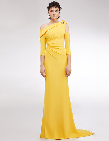 Custom One Shoulder Floor Length Evening Dresses with 3/4 Long Sleeves