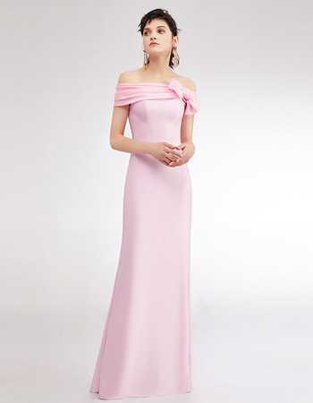 Affordable Off-the-shoulder Floor Length Satin Evening/ Prom Dresses