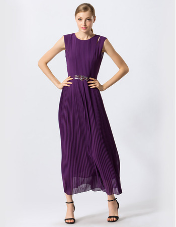 Custom Tea Length Chiffon Pleated Evening/ Prom/ Formal Dresses