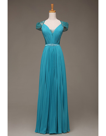 Custom Sweetheart Floor Length Evening Dresses with Cap Sleeves