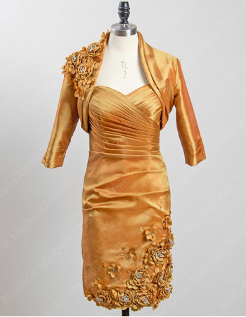 Elegant Column Short Taffeta Mother Dresses with Jackets for Wedding
