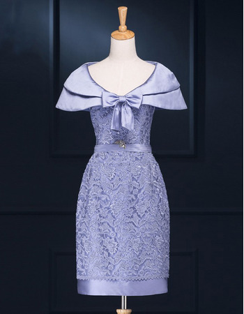 Custom Short Lace Satin Mother of the Bride Dresses for Wedding