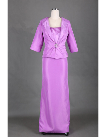 Custom Floor Length Satin Mother Dresses with Jackets for Wedding