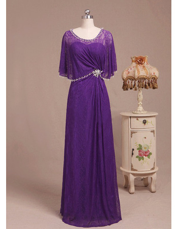 Custom Floor Length Lace Mother Dress with Wrap for Wedding