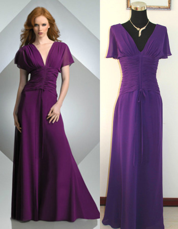 Affordable Floor Length Chiffon Mother Dresses with Short Sleeves