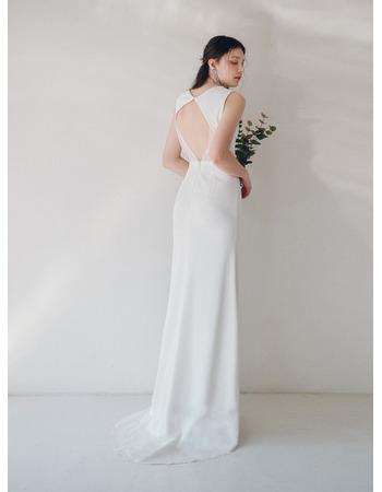 Custom Sheath Sleeveless Floor Length Satin Reception Wedding Dresses