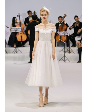 Custom A-Line Off-the-shoulder Tea Length Reception Wedding Dresses