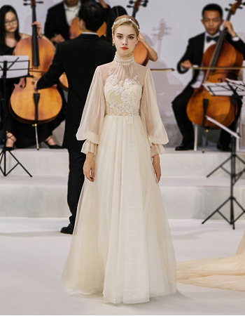 Affordable A-Line Floor Length Organza Wedding Dress with Long Sleeves